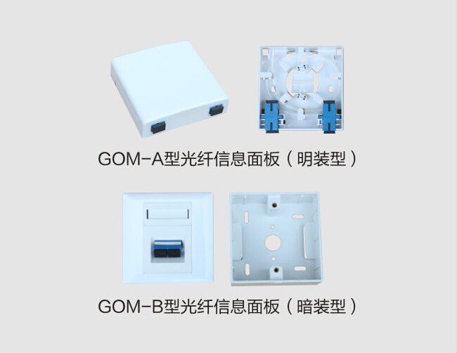 GOM-A 2 ports FTTH Socket Panel